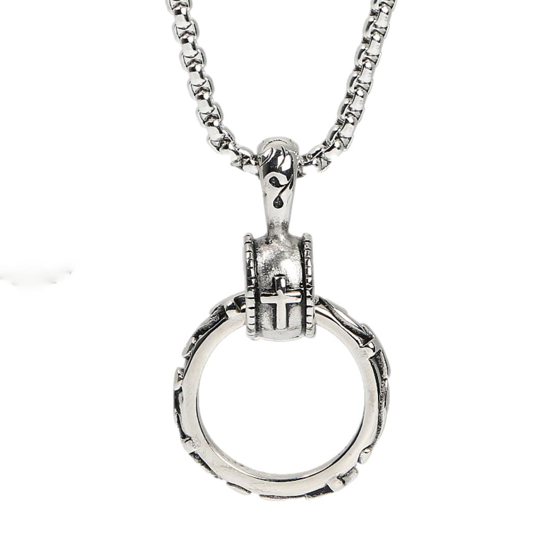 メンズネックレス 存在感溢れる男らしいリングネックレス(銀)